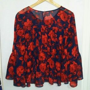 a new day · dark blue w/ roses tiered top Size M